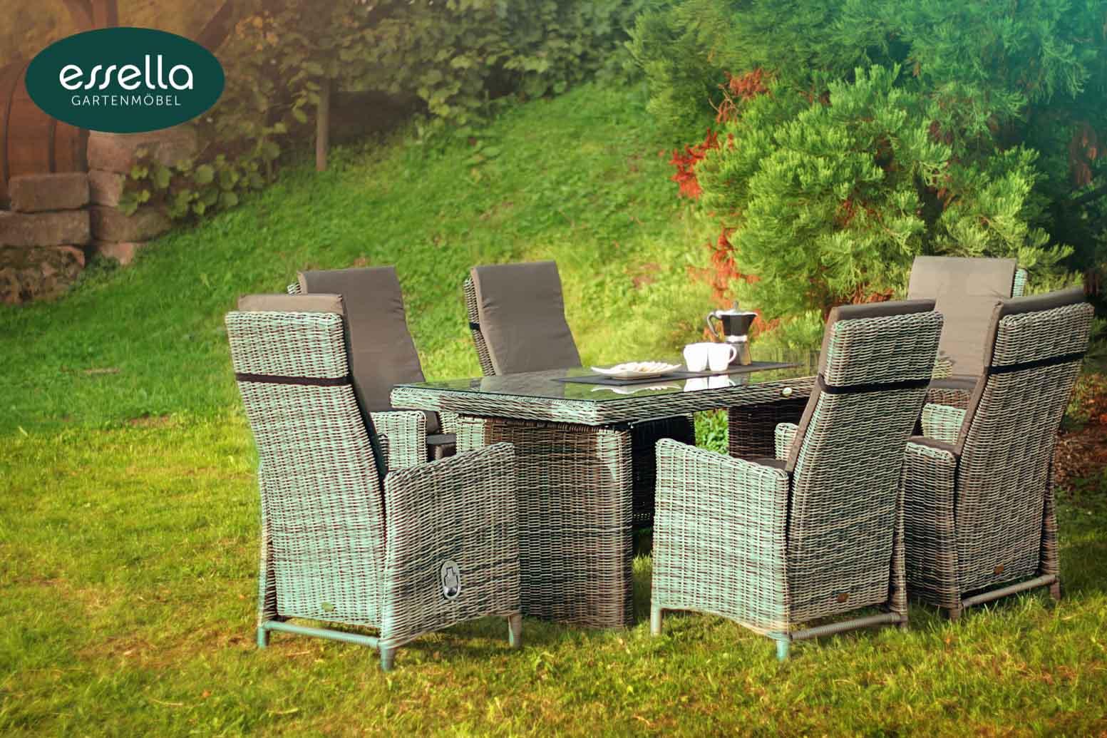 sitzgruppe rom 6 personen rundgeflecht. Black Bedroom Furniture Sets. Home Design Ideas