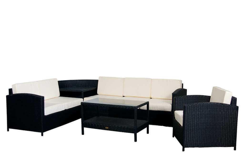 Essella Polyrattan Garten Lounge London Flachgeflecht