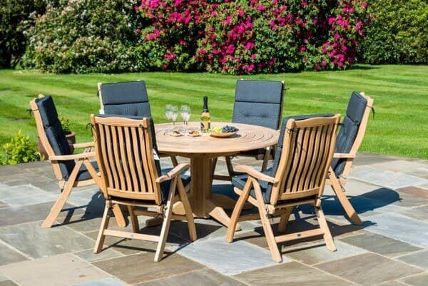 Holz Sitzgruppe 6-Personen Tisch Rund