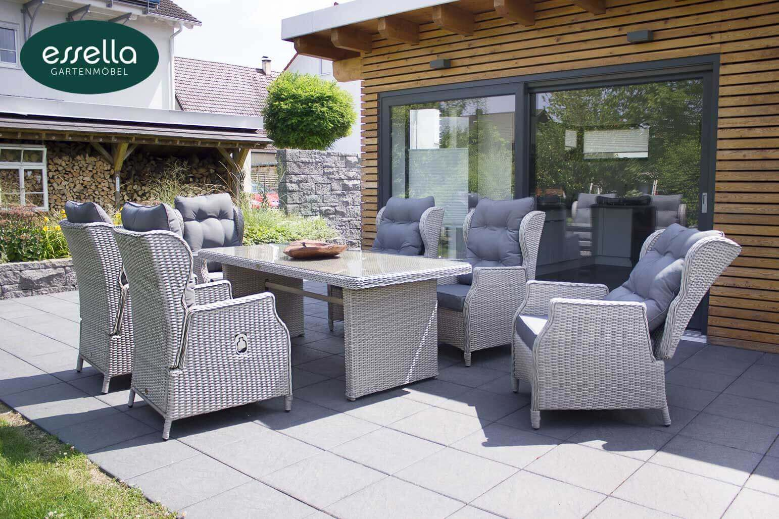 Polyrattan sitzgruppe kingston 6 personen rundgeflecht for Couch 6 personen