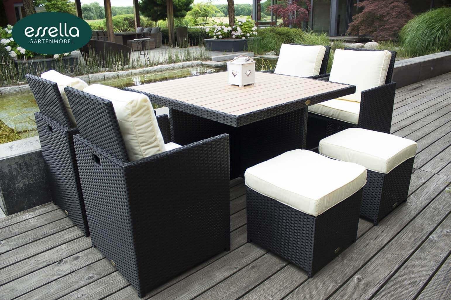 essella polyrattan sitzgruppe vienna 4 personen polywood flachgeflecht. Black Bedroom Furniture Sets. Home Design Ideas