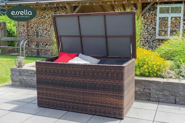 Essella Polyrattan Kissenbox XL : dunkelbraun : rundgeflecht-optik : gartenmode.de