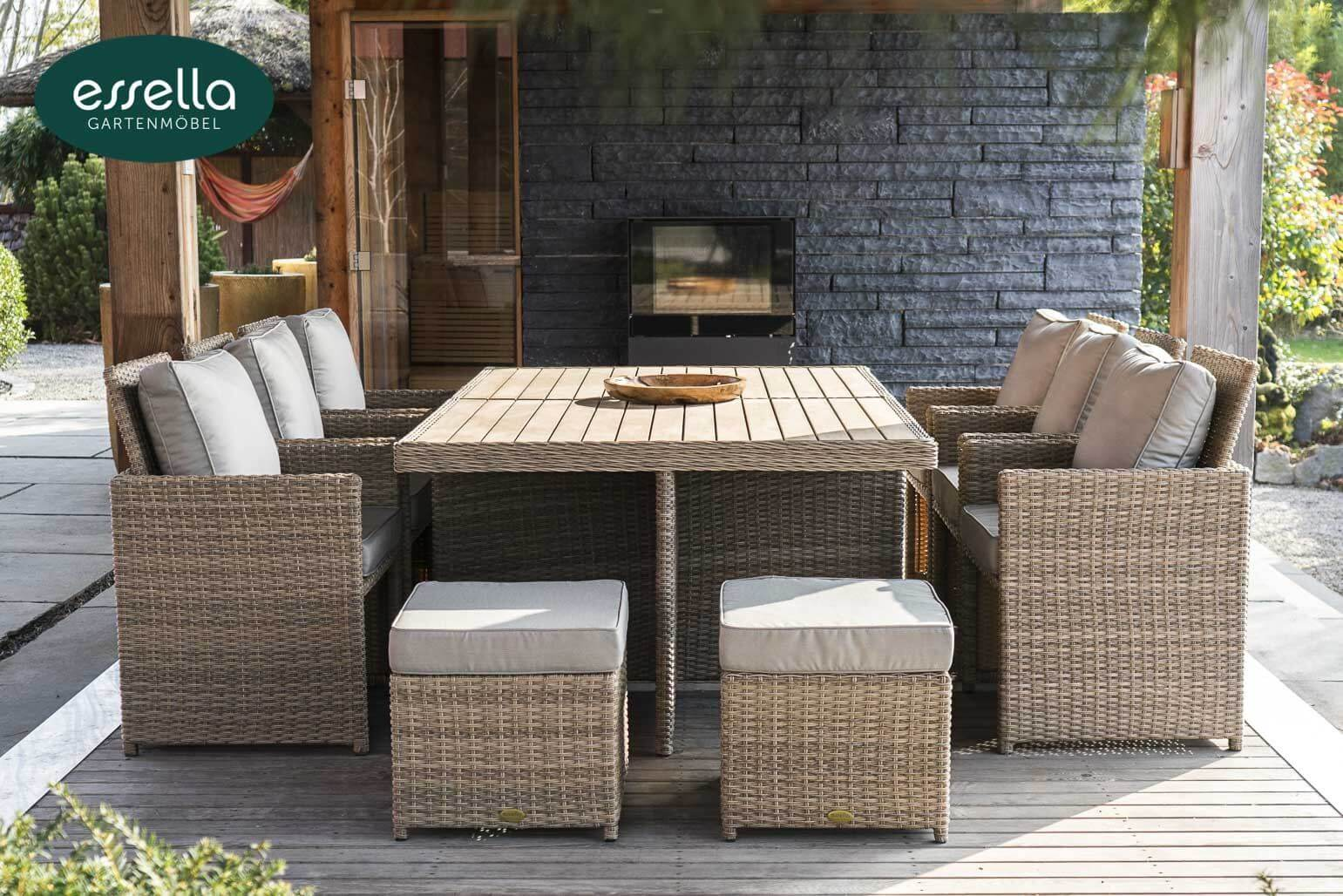 essella polyrattan sitzgruppe vienna 6 personen polywood rundgeflecht. Black Bedroom Furniture Sets. Home Design Ideas