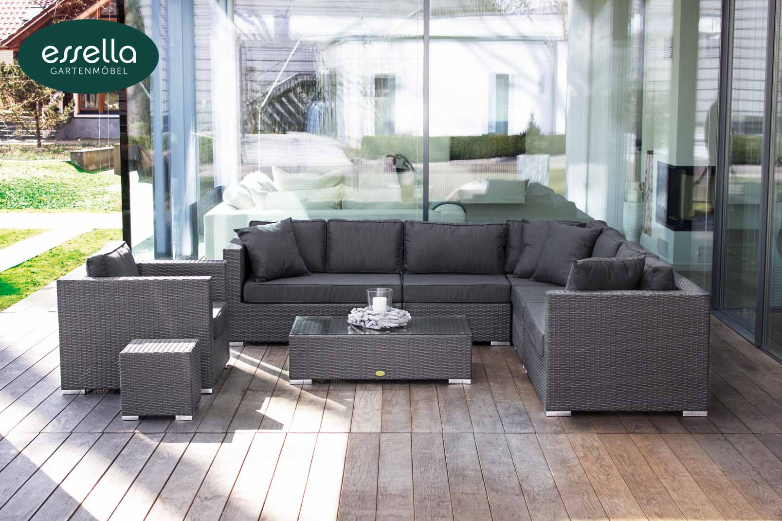 essella polyrattan loungem bel miami flachgeflecht. Black Bedroom Furniture Sets. Home Design Ideas