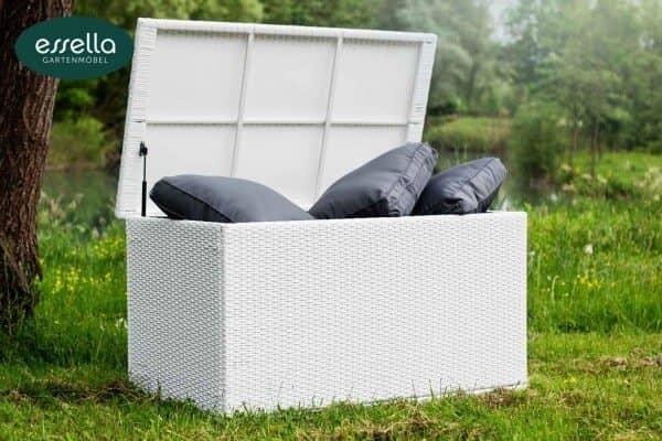 Essella Polyrattan Kissenbox XL : weiss : flachgeflecht : gartenmode.de