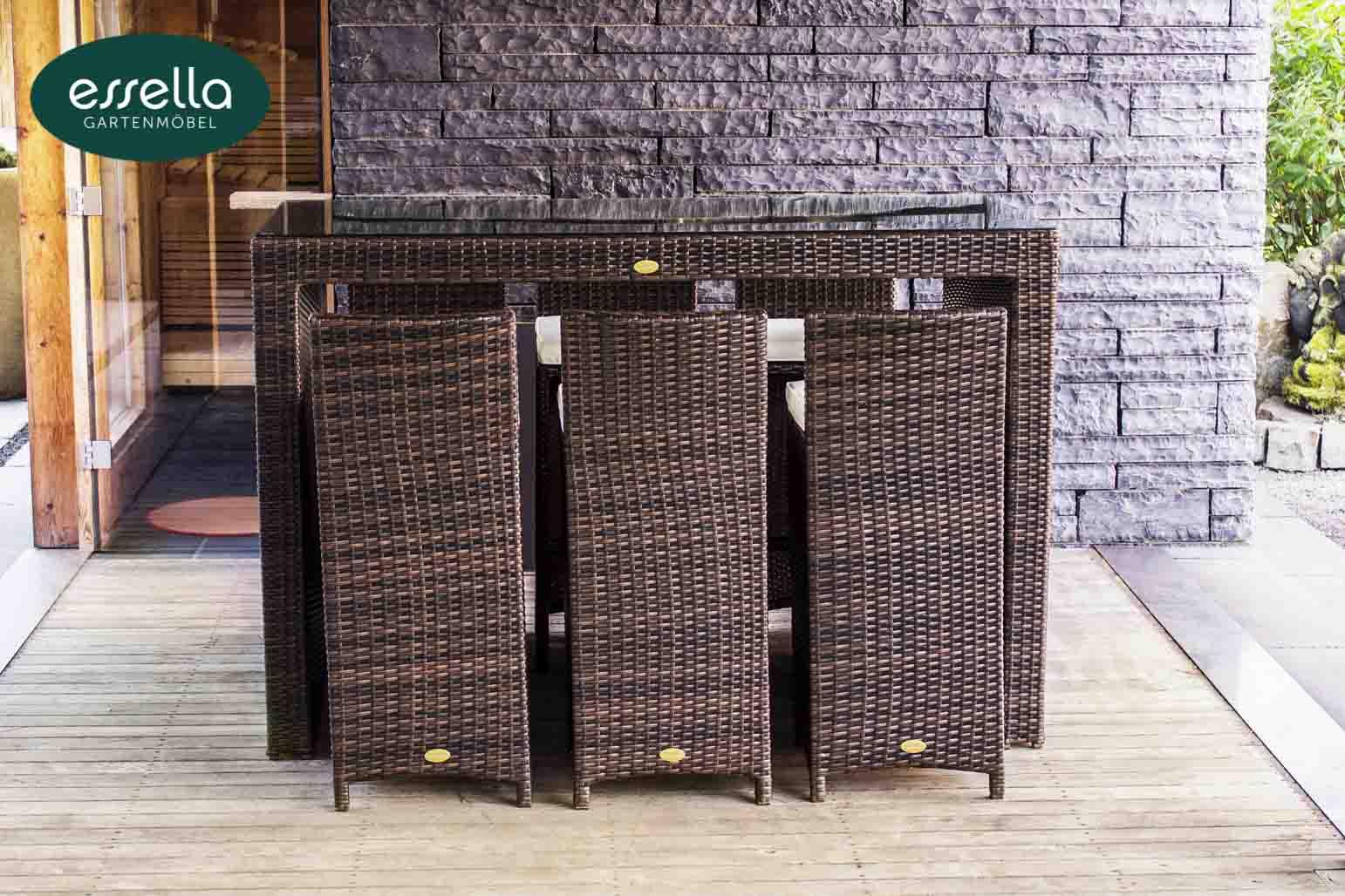 essella polyrattan bar set bari 6 personen flachgeflecht. Black Bedroom Furniture Sets. Home Design Ideas