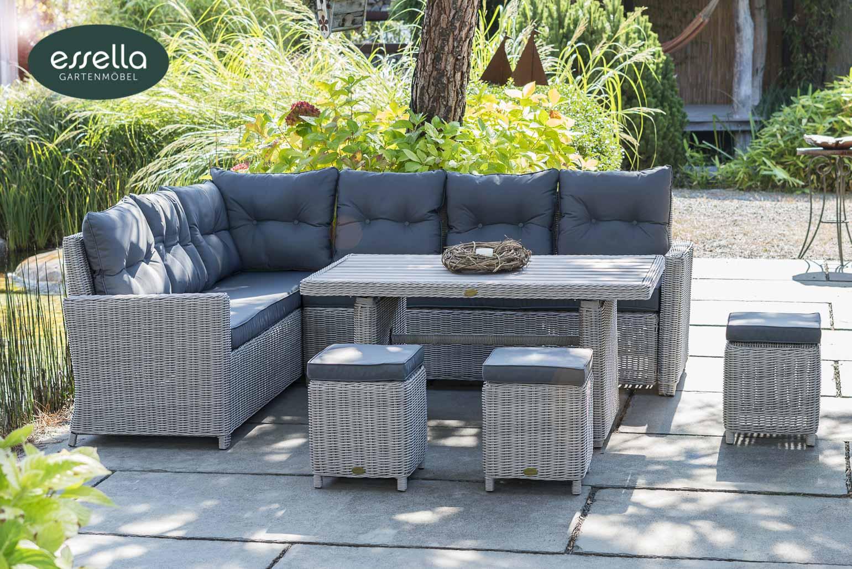 essella polyrattan sitzgruppe palma 8 personen rundgeflecht. Black Bedroom Furniture Sets. Home Design Ideas