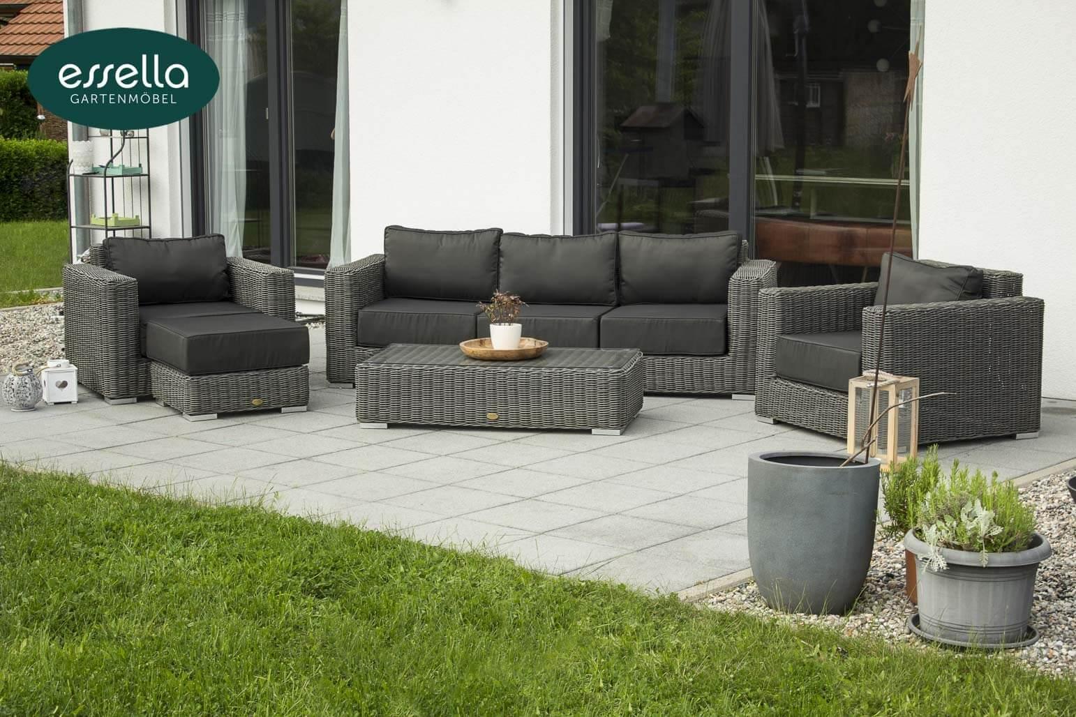 essella polyrattan terrassenm bel lounge monaco rungeflecht. Black Bedroom Furniture Sets. Home Design Ideas