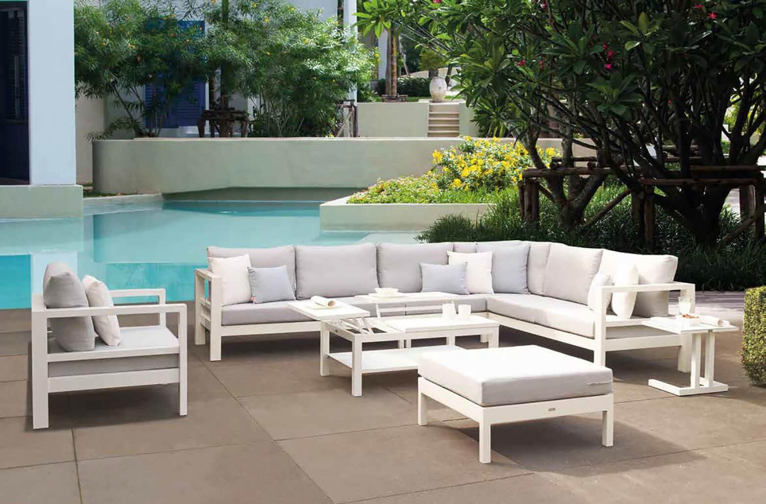 life aluminium loungegruppe delta white 7 personen. Black Bedroom Furniture Sets. Home Design Ideas