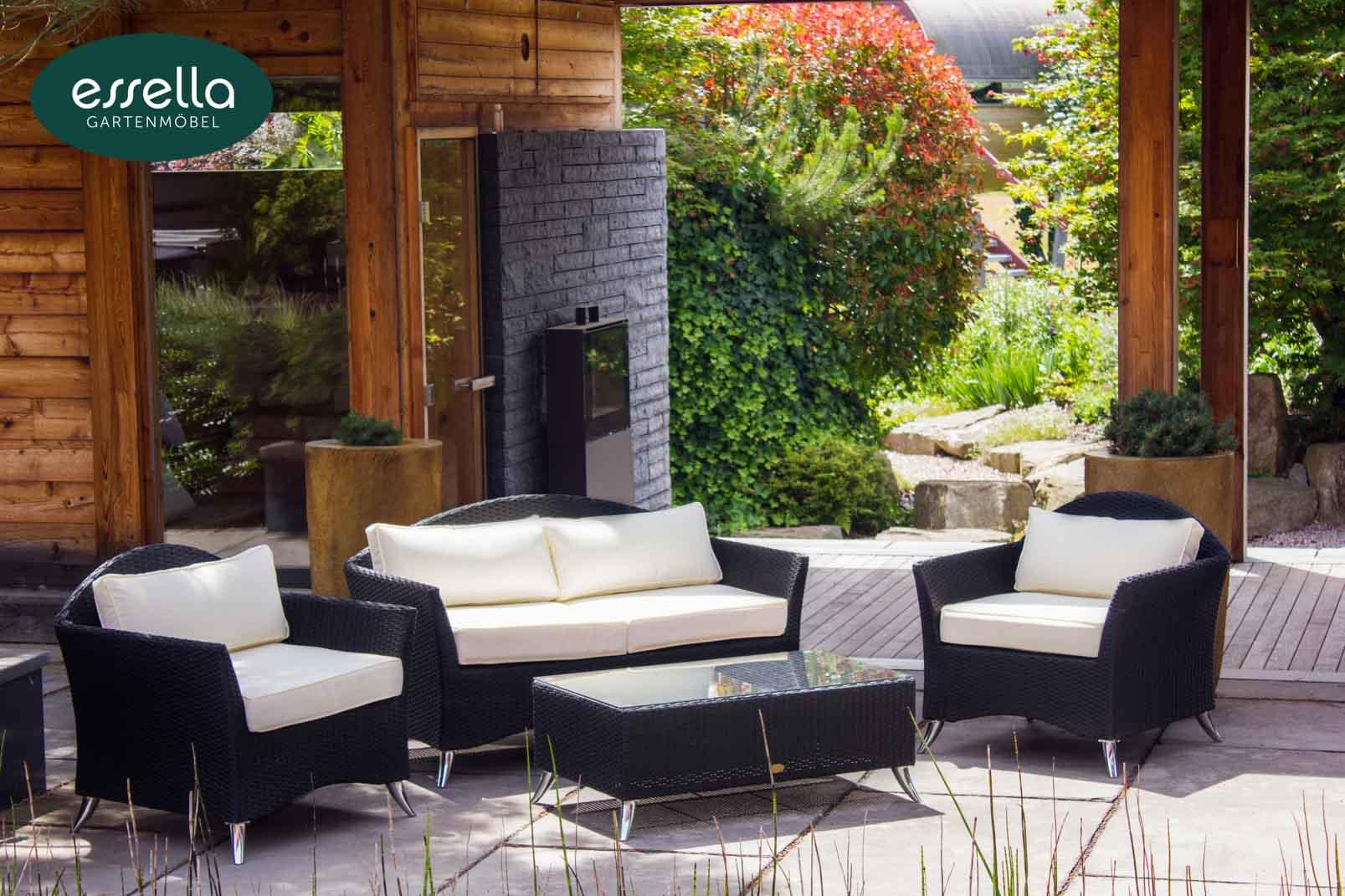 vorschau essella polyrattan lounge chicago schwarz flachgeflecht. Black Bedroom Furniture Sets. Home Design Ideas