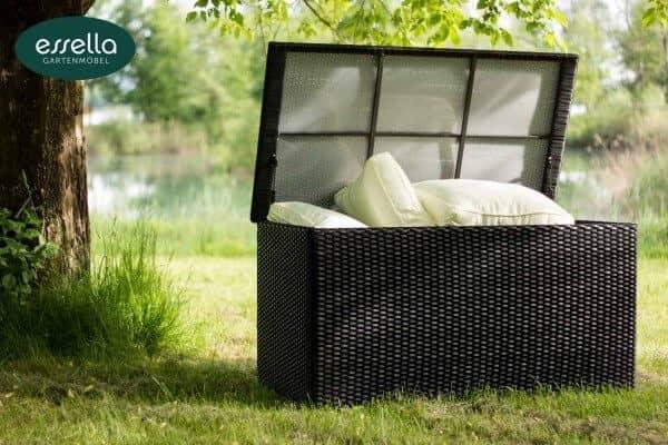 Essella Polyrattan Kissenbox XL : schwarz : flachgeflecht : gartenmode.de