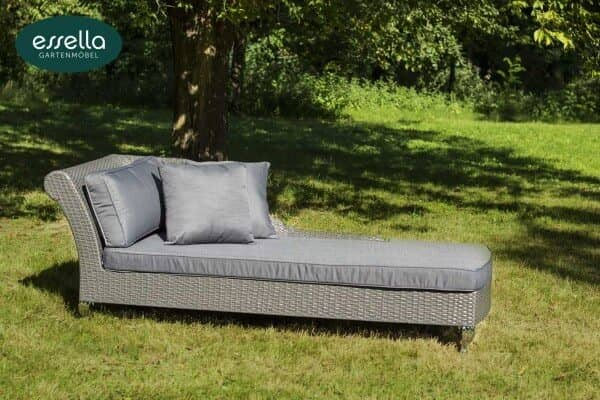 "Essella Polyrattan Chaiselongue ""Paris"" : grau : flachgeflecht : gartenmode.de"