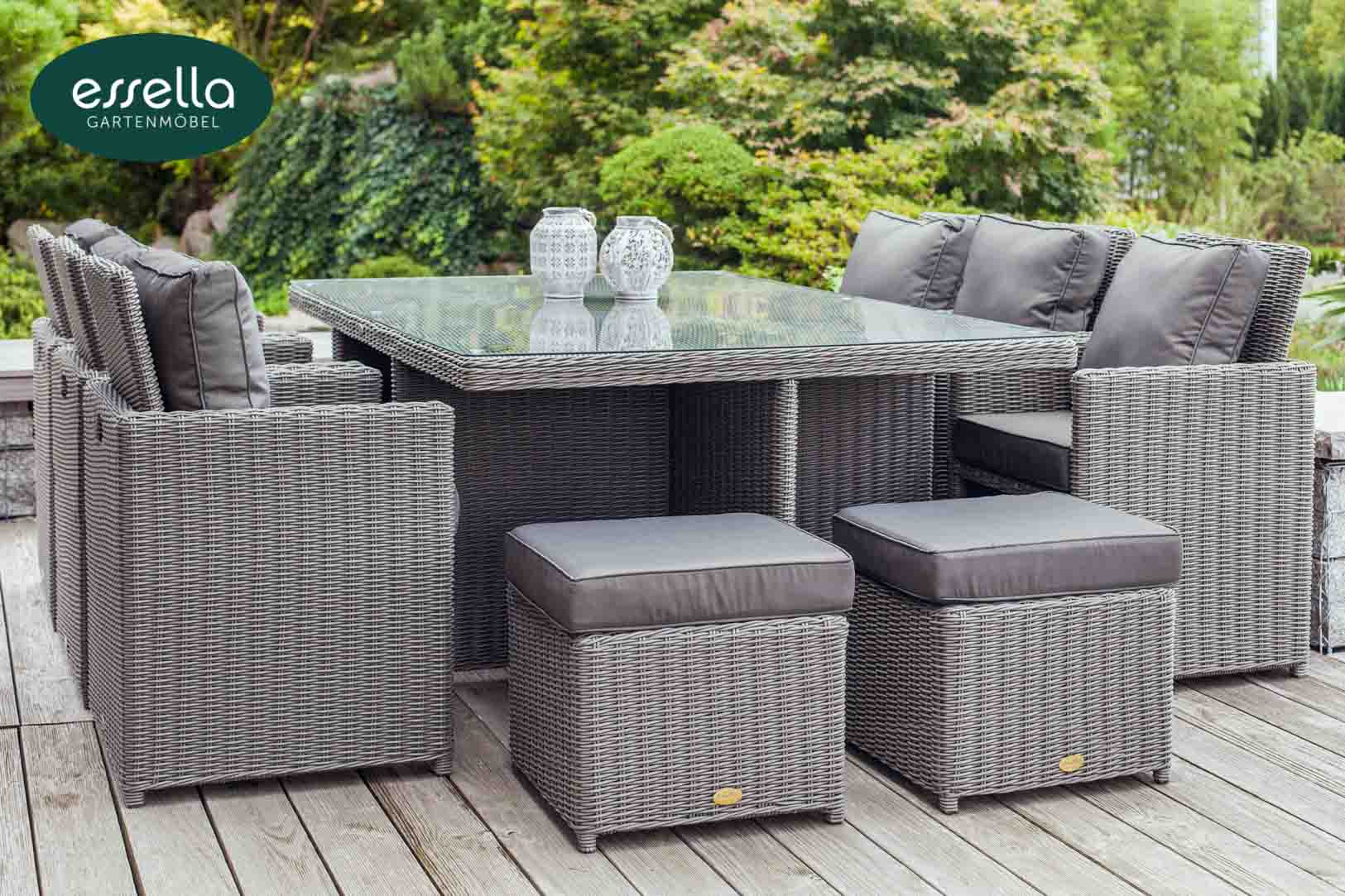 essella polyrattan sitzgruppe vienna 6 personen rundgeflecht. Black Bedroom Furniture Sets. Home Design Ideas
