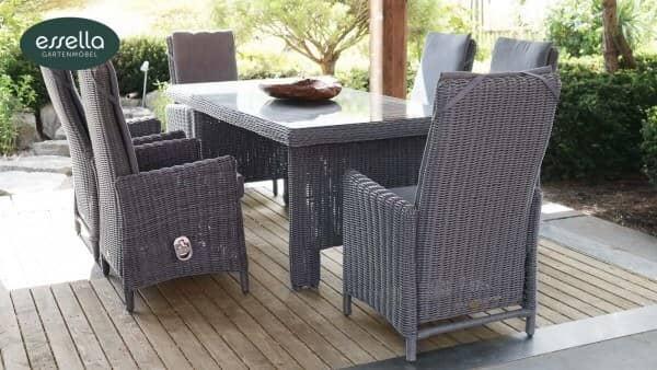 essella polyrattan sitzgruppe rom 6 personen rundgeflecht. Black Bedroom Furniture Sets. Home Design Ideas