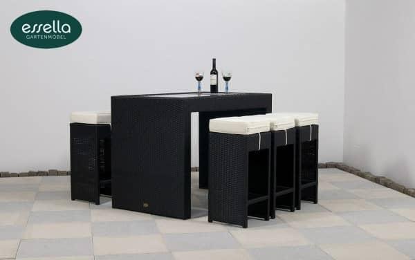 """Essella Polyrattan Bar-Set """"Barcelona"""" : schwarz : flachgeflecht : gartenmode.de"""