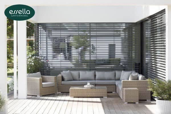 "Essella Polyrattan Lounge ""Palm Beach"" : hell - braun : rundgeflecht - optik : gartenmode.de"