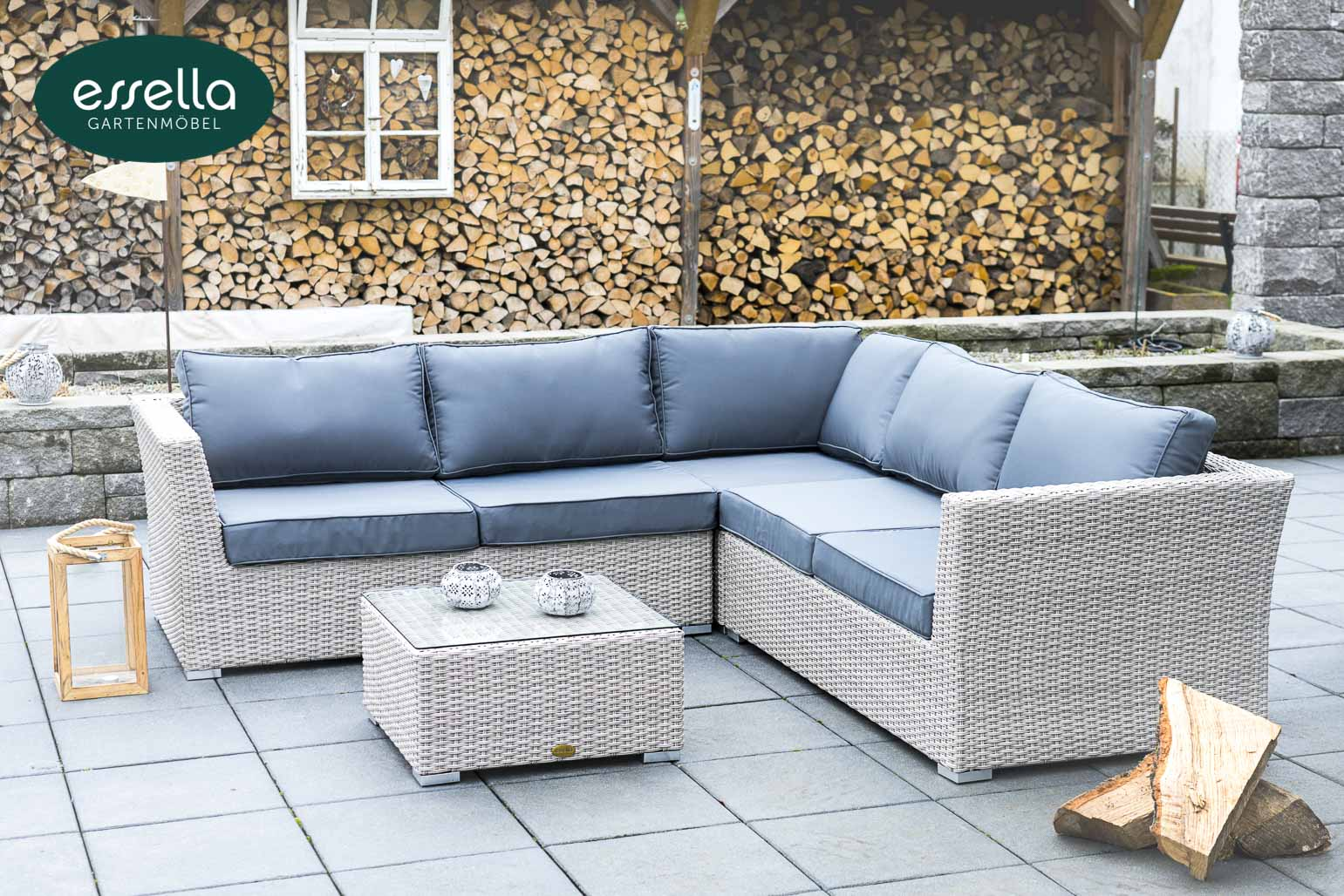 Essella Polyrattan Garten Lounge Boston Rundgeflecht