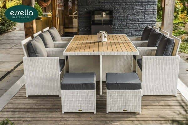 essella polyrattan sitzgruppe vienna 6 personen polywood flachgeflecht. Black Bedroom Furniture Sets. Home Design Ideas