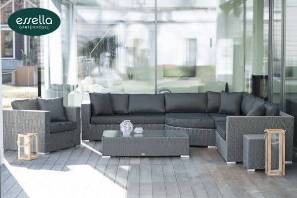 "Essella Polyrattan Lounge ""Palm Beach"" : grau : rundgeflecht - optik : gartenmode.de"
