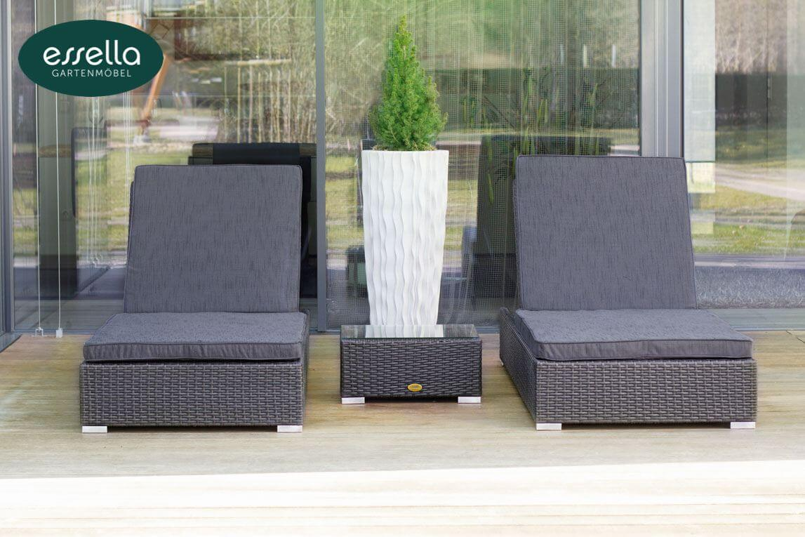 essella polyrattan sonnenliege jamaica 2 personen flachgeflecht. Black Bedroom Furniture Sets. Home Design Ideas