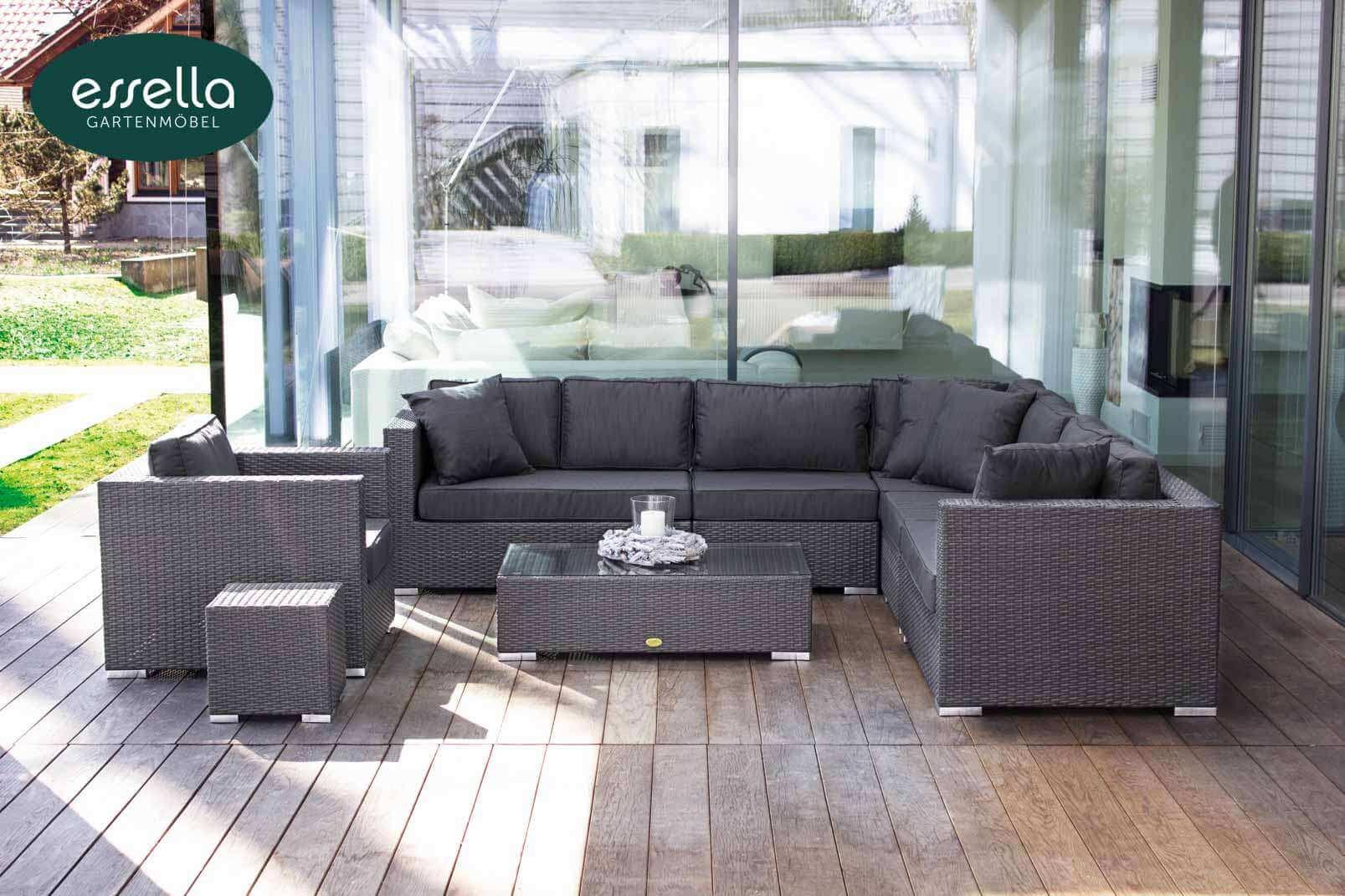 Essella Polyrattan Loungemöbel Miami Flachgeflecht | TOO Design Gartenmöbel