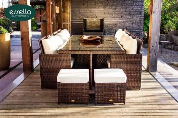 essella polyrattan sitzgruppe vienna 8 personen. Black Bedroom Furniture Sets. Home Design Ideas
