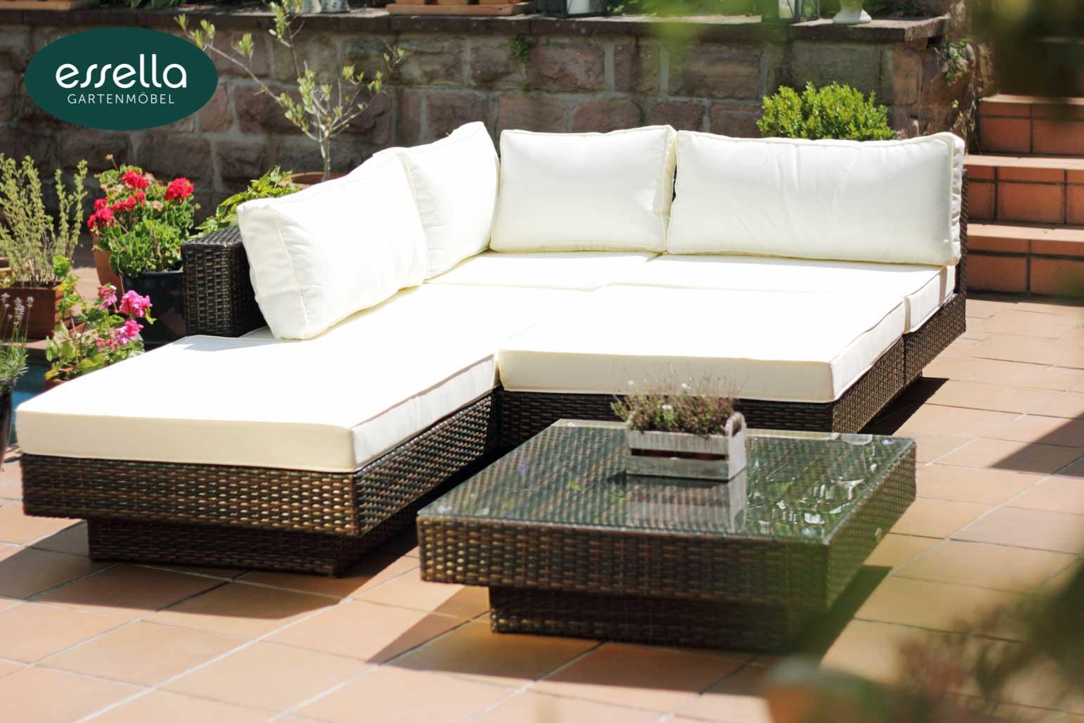 vorschau essella polyrattan lounge melbourne bicolor braun flachgeflecht. Black Bedroom Furniture Sets. Home Design Ideas