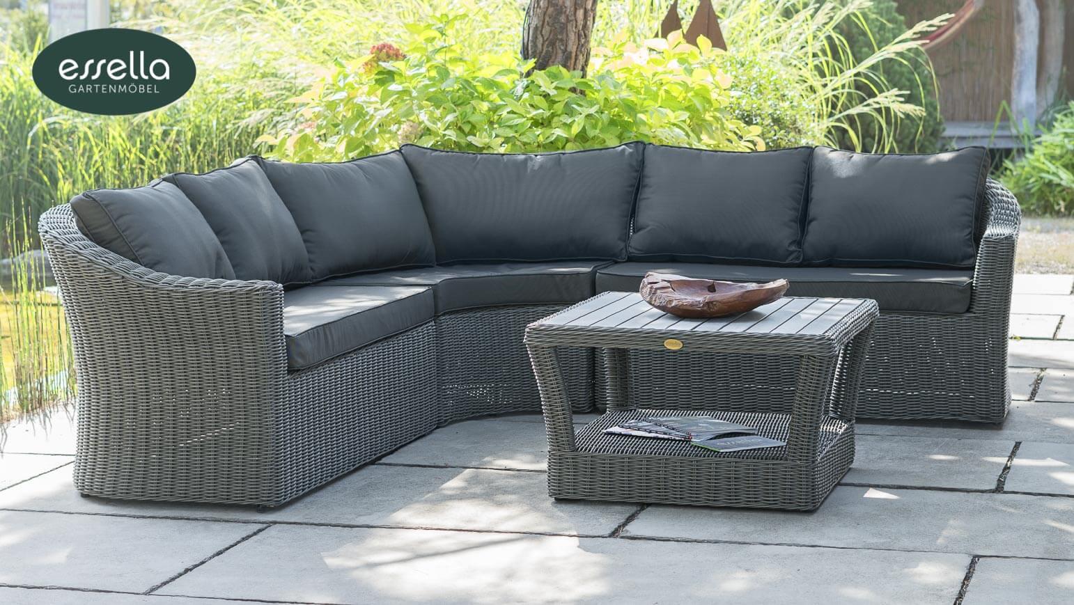 essella polyrattan lounge porto 5 personen rundgeflecht. Black Bedroom Furniture Sets. Home Design Ideas