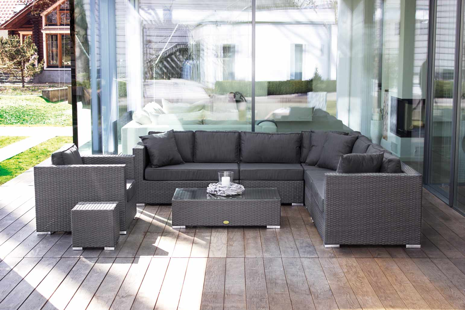 Edle polyrattan loungem bel vom hersteller too design for Lounge set rattan gunstig