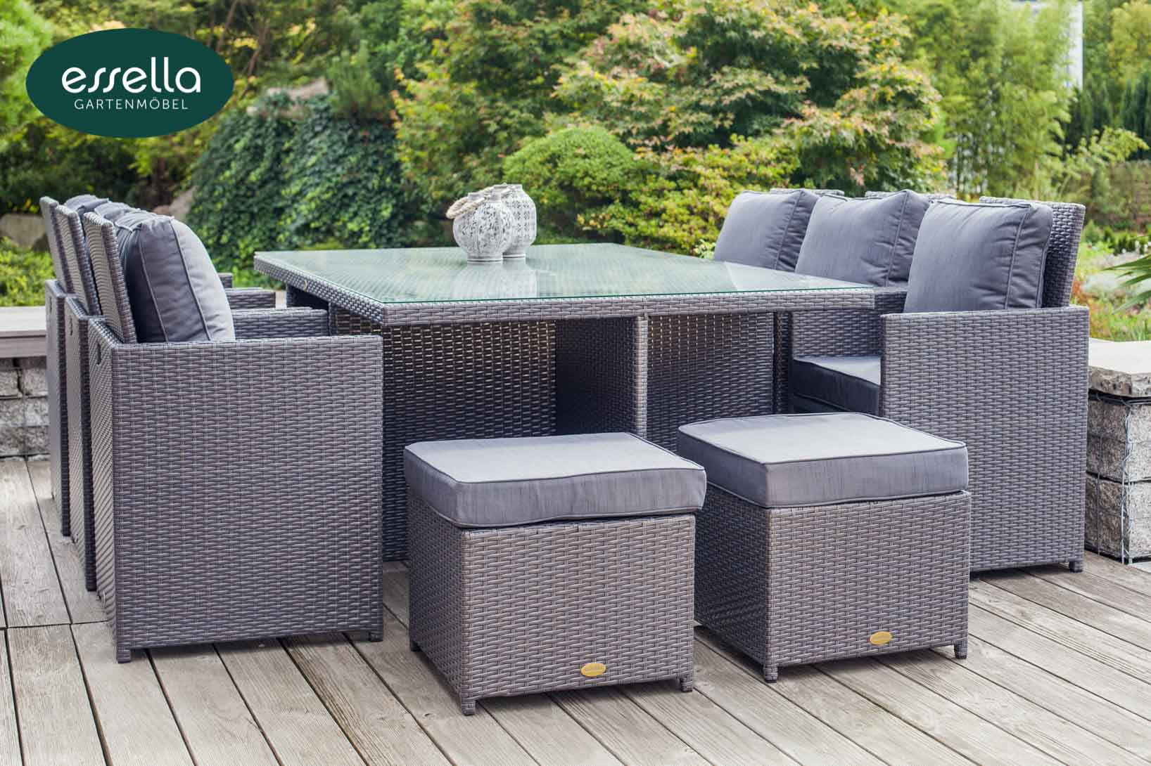 essella polyrattan sitzgruppe vienna 6 personen. Black Bedroom Furniture Sets. Home Design Ideas