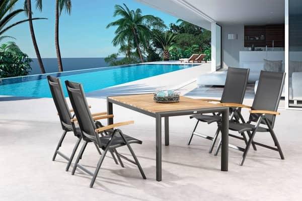 Aluminium Teakholz Sitzgruppe 4-Personen Paros Calvese anthrazit 160x90 cm