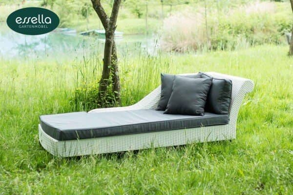 "Essella Polyrattan Chaiselongue ""Paris"" : weiß : flachgeflecht : gartenmode.de"
