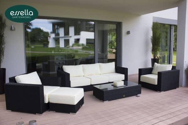 "Essella Polyrattan Lounge ""Monaco"" : schwarz : flachgeflecht : gartenmode.de"