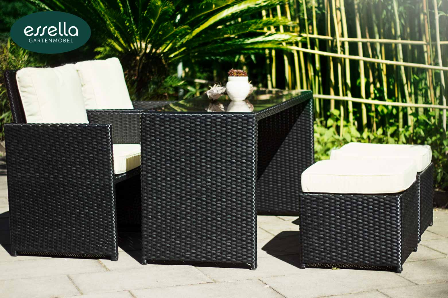 essella polyrattan sitzgruppe vienna 2 personen. Black Bedroom Furniture Sets. Home Design Ideas