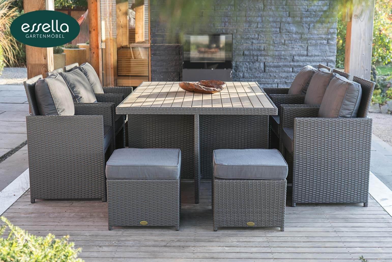 essella polyrattan sitzgruppe vienna 6 personen polywood flachgeflecht. Black Bedroom Furniture Sets. Home Design Ideas