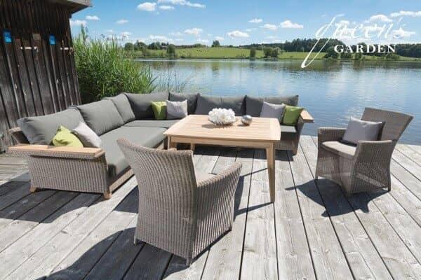 Queen's Garden Gardino®-PRO Geflecht Lounge Capo sand 1
