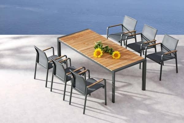 Aluminium Sitzgruppe Paros 6-Personen anthrazit