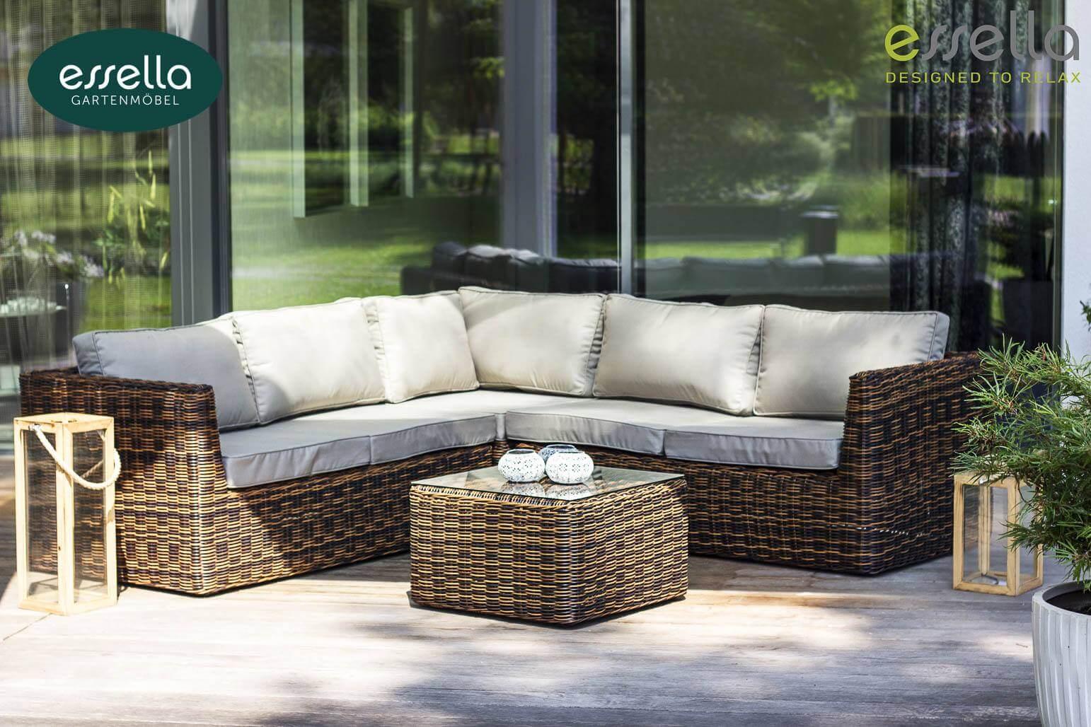 Essella polyrattan loungem bel oslo rundgeflecht for Lounge polyrattan gartenmobel