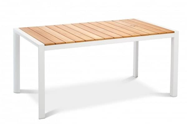 Aluminium Teakholz Tisch Paros weiss 160x90 cm