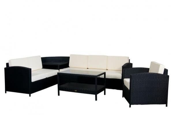 Essella polyrattan lounge london schwarz for Polyrattan eckbank