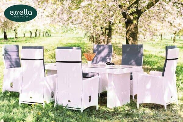 "Essella Polyrattan Sitzgruppe ""Rom"" : weiß : flachgeflecht : gartenmode.de"
