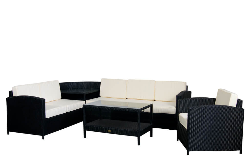 essella polyrattan garten lounge london flachgeflecht. Black Bedroom Furniture Sets. Home Design Ideas