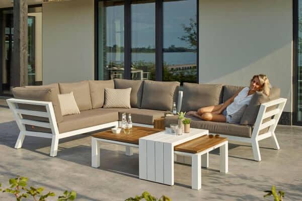 Life Aluminium Teakholt Lounge Timber white weiß