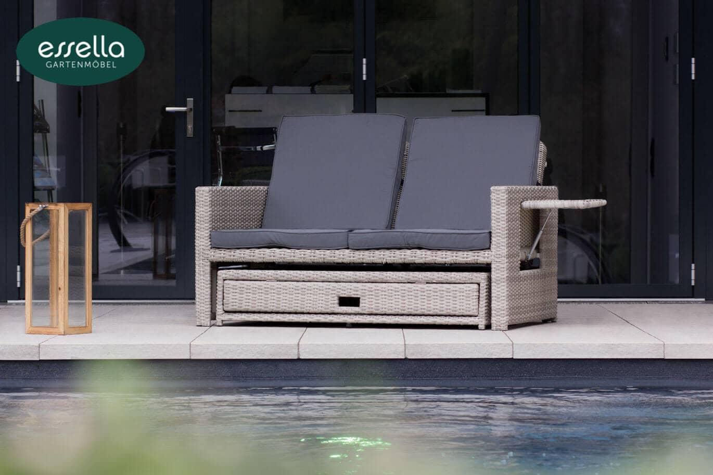 essella polyrattan sonnenliege milano 2 personen rundgeflecht. Black Bedroom Furniture Sets. Home Design Ideas