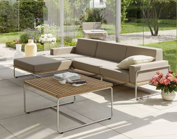 queen s garden edelstahl teakholz lounge baro too design. Black Bedroom Furniture Sets. Home Design Ideas