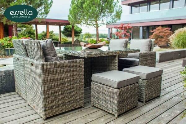 essella polyrattan sitzgruppe vienna 4 personen rundgeflecht. Black Bedroom Furniture Sets. Home Design Ideas