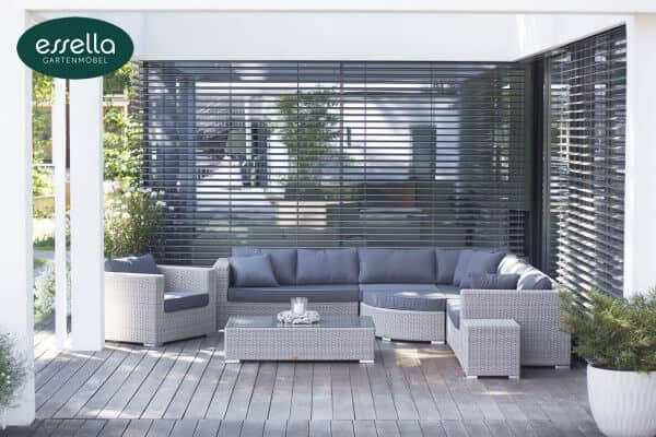 "Essella Polyrattan Lounge ""Palm Beach"" : vintage - weiss : rundgeflecht - optik : gartenmode.de"