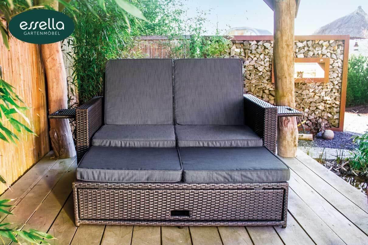 essella polyrattan sonnenliege milano 2 personen flachgeflecht. Black Bedroom Furniture Sets. Home Design Ideas