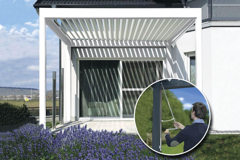 lamellendach terrasse swalif. Black Bedroom Furniture Sets. Home Design Ideas
