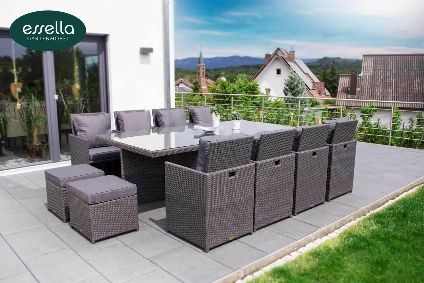 vorschau essella polyrattan sitzgruppe vienna grau flachgeflecht. Black Bedroom Furniture Sets. Home Design Ideas